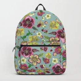 Hellebore flowers blossom - blue Backpack