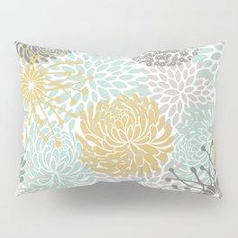 Floral Abstract Print, Yellow, Gray, Aqua Pillow Sham