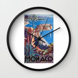 1930 MONACO Travel Poster Wall Clock