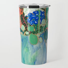 Bouquet of Flowers in Alexandrite Inspired Vase against Salmon Wall Travel Mug