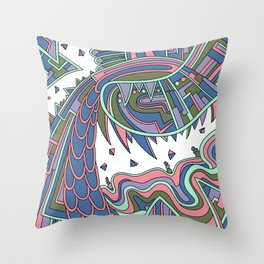 Wandering Abstract Line Art 49: Coral Throw Pillow
