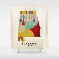alabama Shower Curtains featuring Alabama state map modern by bri.buckley