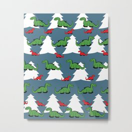 Christmas Dinosaur Metal Print