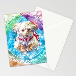 Penny the Yorkipoo rainbow colors Stationery Cards