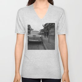 Black and white classic street scene Unisex V-Neck
