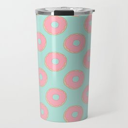 Pink Doodle Donuts Pattern on an aqua blue background Travel Mug