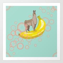 Confident Banana Llama Art Print