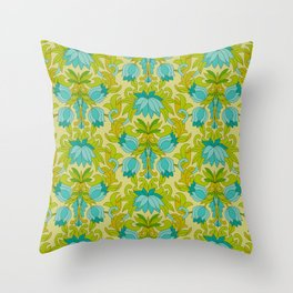 Turquoise and Green Leaves 1960s Retro Vintage Pattern Throw Pillow