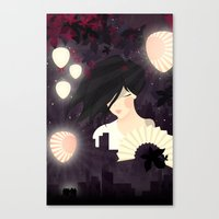 tokyo Canvas Prints featuring Tokyo by Jenny Lloyd Illustration