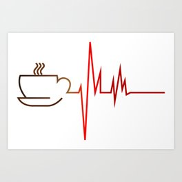 Coffee Heartbeat Art Print