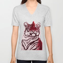 Fantasy Creature - Alien Red Tiger with Crystals and Rubies Unisex V-Neck