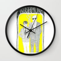 rushmore Wall Clocks featuring Rushmore by Vannia Palacio