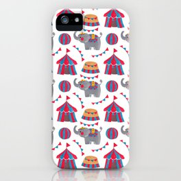 Colorful red blue gray watercolor elephant circus pattern iPhone Case