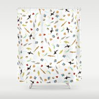 the life aquatic Shower Curtains featuring The Life Aquatic with Steve Zissou: Repeat Pattern by She's That Wallflower
