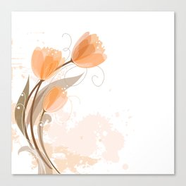 Abstract Peach Watercolor Tulips Canvas Print