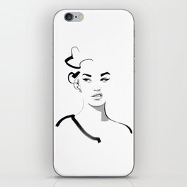 Face disgusted Fashion Illustration Version iPhone Skin