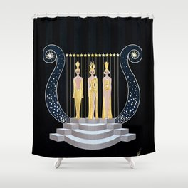 "Art Deco 1920's Illustration ""Lyre"" Shower Curtain"