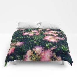 Mimosa Tree Floral Pattern | Photography | Tropical | Pink aesthetic Comforters