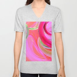 modern minimalist watercolor mint green magenta fuschia pink abstract  Unisex V-Neck