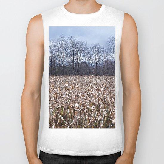 Field of Corn left Behind Biker Tank