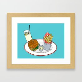Burger, Chips and Lemonade Framed Art Print