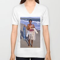 asia V-neck T-shirts featuring FISHERMAN - BEACH - VIETNAM - ASIA by CAPTAINSILVA