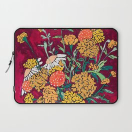 Marigold, Daisy and Wildflower Bouquet Fall Floral Still Life Painting on Eggplant Purple Laptop Sleeve