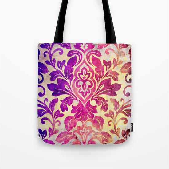 Purple Damask Pattern Tote Bag