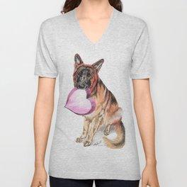 German Shepherd love , cute GSD dog watercolor with heart Unisex V-Neck