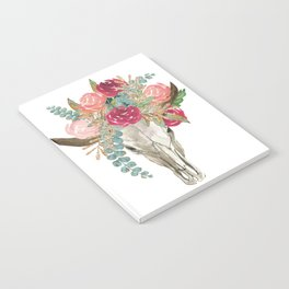 Bohemian bull skull with flowers Notebook