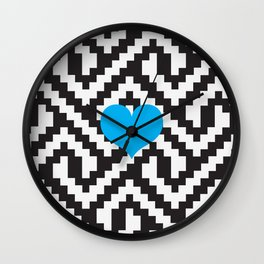 Locking Pattern, Black and White Love Wall Clock