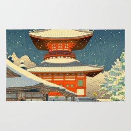 Asano Takeji Japanese Woodblock Print Vintage Mid Century Art Winter Red Shinto Shrine Snow Pagoda Rug