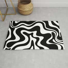 Liquid Swirl Abstract Pattern in Black and White Rug