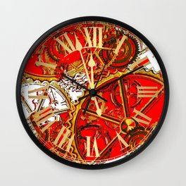 RED-WHITE ABSTRACT GOLDEN STEAMPUNK CLOCK WORKS Wall Clock