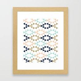 Aztec - Geometric tribal pattern in navy, gold glitter, pink, and blush Framed Art Print
