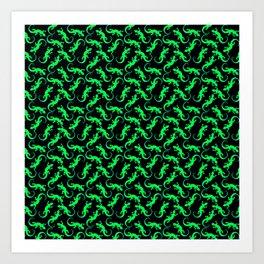 Beautiful bright glowing green artistic lizards. Reptiles. Gift ideas animal lovers. Lizard pattern Art Print