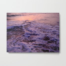 Water Washing Up On The Sand During Sunrise Metal Print