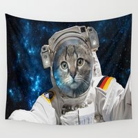 space cat Wall Tapestries featuring Space Cat by Tayler Smith