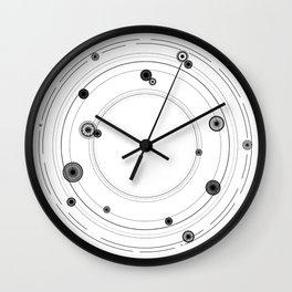 Geometric mandala art, black and white graphic art Wall Clock