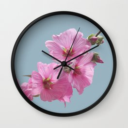 Pink Mallow Flowers Photo to Paint on Blue Wall Clock