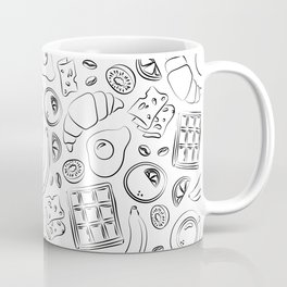 Breakfast black and white pattern Coffee Mug