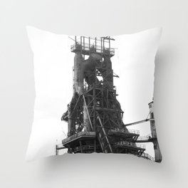 Bethlehem Steel Plant Photo 8 in black and white Throw Pillow