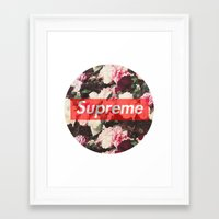 supreme Framed Art Prints featuring Supreme Circle  by Massero Project