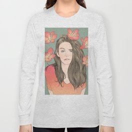 Girl with Flowers Long Sleeve T-shirt