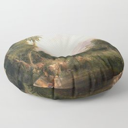 Garden of Eden Paradise with Penitent Adam and Eve landscape painting by Thomas Cole Floor Pillow