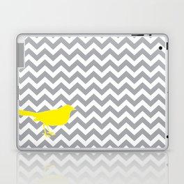 Yellow Bird on Gray Chevron Laptop & iPad Skin