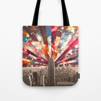monika strigel Tote Bags featuring Superstar New York by Bianca Green