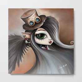 Steampunk Vampire Goth Girl with Black Feather Angel Wings Metal Print