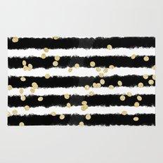 Modern black watercolor stripes chic gold confetti Rug