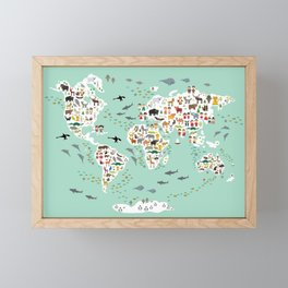 Cartoon animal world map for children and kids, back to schhool. Animals from all over the world Framed Mini Art Print